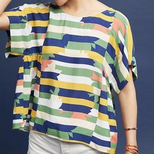 Anthropologie Maeve Milla Abstract Stripe Top